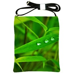 Bamboo Leaf With Drops Shoulder Sling Bag