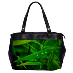 Bamboo Leaf With Drops Oversize Office Handbag (One Side)
