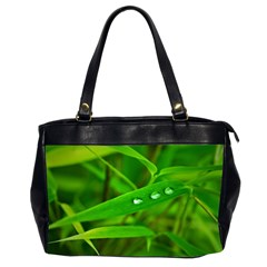 Bamboo Leaf With Drops Oversize Office Handbag (Two Sides)