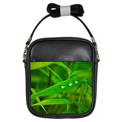 Bamboo Leaf With Drops Girl s Sling Bag
