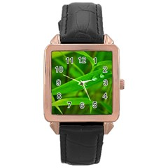 Bamboo Leaf With Drops Rose Gold Leather Watch