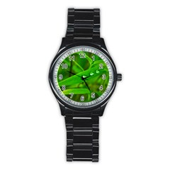 Bamboo Leaf With Drops Sport Metal Watch (Black)