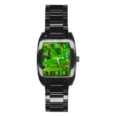 Bamboo Leaf With Drops Men s Stainless Steel Barrel Analog Watch