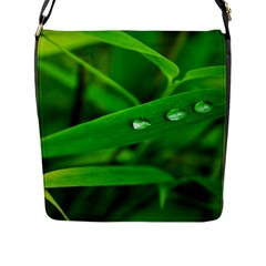 Bamboo Leaf With Drops Flap Closure Messenger Bag (Large)