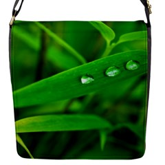 Bamboo Leaf With Drops Flap closure messenger bag (Small)