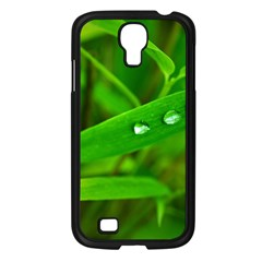 Bamboo Leaf With Drops Samsung Galaxy S4 I9500/ I9505 Case (Black)