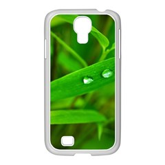 Bamboo Leaf With Drops Samsung GALAXY S4 I9500/ I9505 Case (White)
