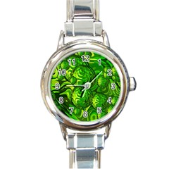 Green Balls  Round Italian Charm Watch