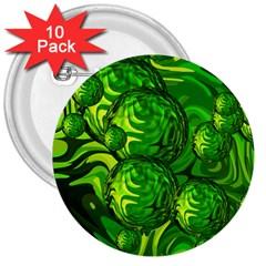 Green Balls  3  Button (10 pack)