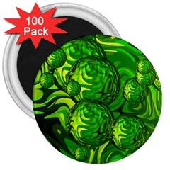 Green Balls  3  Button Magnet (100 Pack)