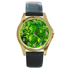 Green Balls  Round Metal Watch (Gold Rim)