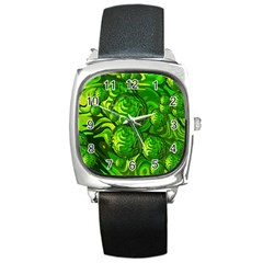 Green Balls  Square Leather Watch