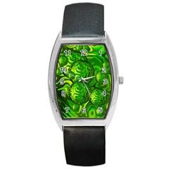 Green Balls  Tonneau Leather Watch