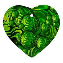Green Balls  Heart Ornament (two Sides)