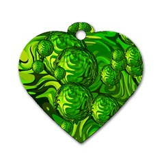 Green Balls  Dog Tag Heart (two Sided)