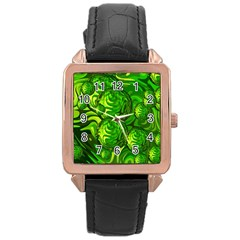 Green Balls  Rose Gold Leather Watch