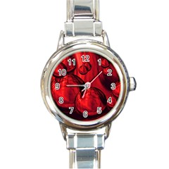 Red Bubbles Round Italian Charm Watch