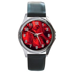 Red Bubbles Round Metal Watch (Silver Rim)