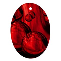 Red Bubbles Oval Ornament
