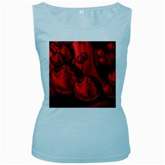 Red Bubbles Womens  Tank Top (baby Blue)