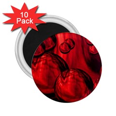 Red Bubbles 2 25  Button Magnet (10 Pack)