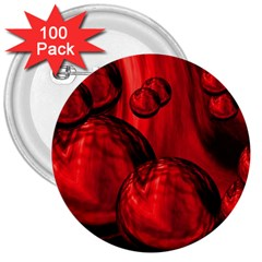 Red Bubbles 3  Button (100 pack)