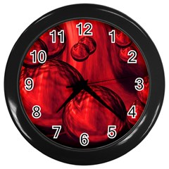 Red Bubbles Wall Clock (black)