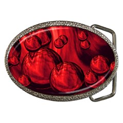 Red Bubbles Belt Buckle (Oval)