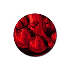 Red Bubbles Drink Coaster (Round)