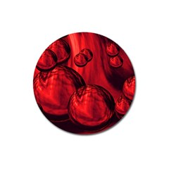 Red Bubbles Magnet 3  (Round)