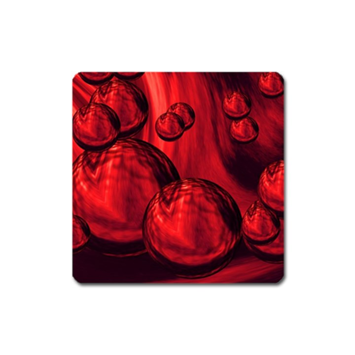 Red Bubbles Magnet (Square)