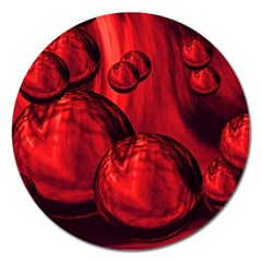 Red Bubbles Magnet 5  (round)
