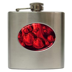 Red Bubbles Hip Flask