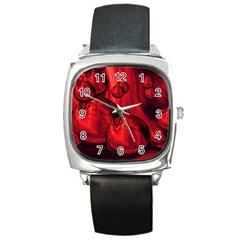 Red Bubbles Square Leather Watch