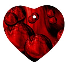 Red Bubbles Heart Ornament (Two Sides)