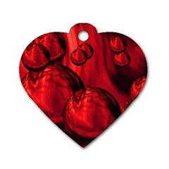 Red Bubbles Dog Tag Heart (one Sided)