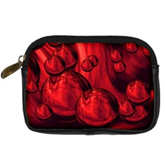 Red Bubbles Digital Camera Leather Case