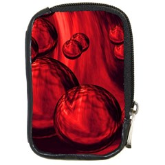 Red Bubbles Compact Camera Leather Case