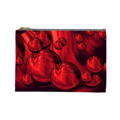 Red Bubbles Cosmetic Bag (large)