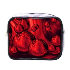 Red Bubbles Mini Travel Toiletry Bag (One Side)