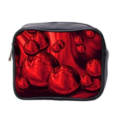 Red Bubbles Mini Travel Toiletry Bag (Two Sides)