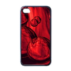 Red Bubbles Apple iPhone 4 Case (Black)