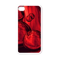 Red Bubbles Apple iPhone 4 Case (White)