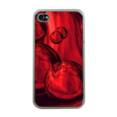 Red Bubbles Apple iPhone 4 Case (Clear)