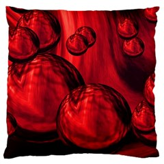 Red Bubbles Large Cushion Case (two Sided)
