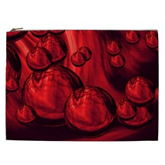 Red Bubbles Cosmetic Bag (xxl)
