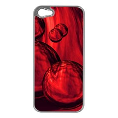 Red Bubbles Apple iPhone 5 Case (Silver)
