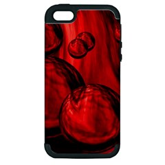 Red Bubbles Apple Iphone 5 Hardshell Case (pc+silicone)
