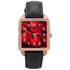 Red Bubbles Rose Gold Leather Watch