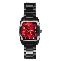 Red Bubbles Men s Stainless Steel Barrel Analog Watch